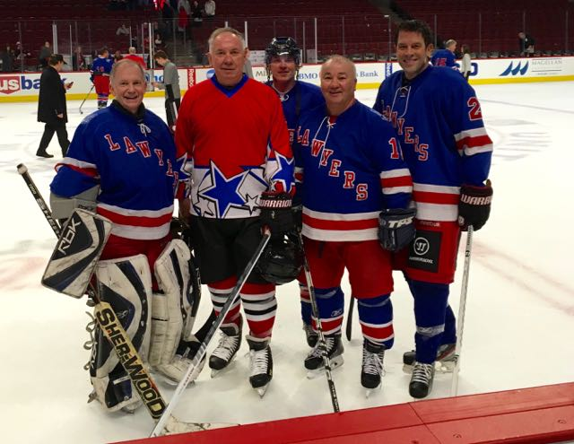 From left:  Bishop Thomas John Paprocki, Blackhawks' legend Cliff Koroll, C.J. Koroll (Cliff's son), Attorney Steve Demitro and CBS 2 Anchor Rob Johnson