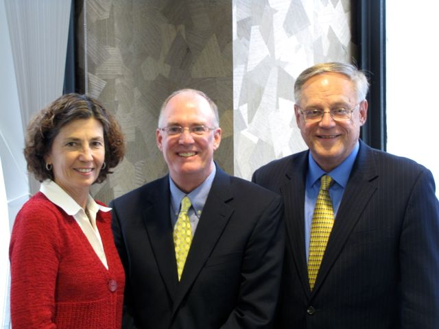 ISBA President John E. Thies (center) with the co-chairs of the Special Committee on the Impact of Law School Debt on the Delivery of Legal Services, Justice Ann B. Jorgensen and Dennis J. Orsey.