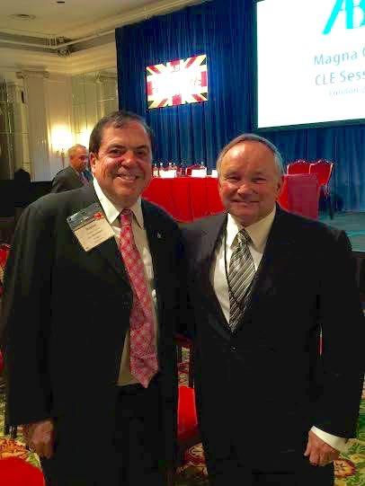 Governor Komie and former ABA Illinois Delegate Robert Clifford attend the ABA's Magna Carta program in London on June 12.