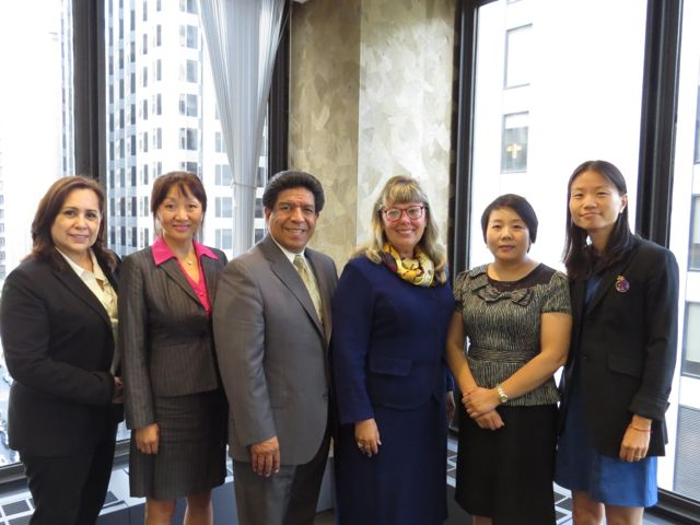On hand for Monday's meeting were (from left): Eva Paredes and Shufen Zhao of the Chicagoland Chamber of Commerce, Appellate Justice Reyes, President Holderman and Linda Yang and Minglei Wu of the Beijing Bar Association.