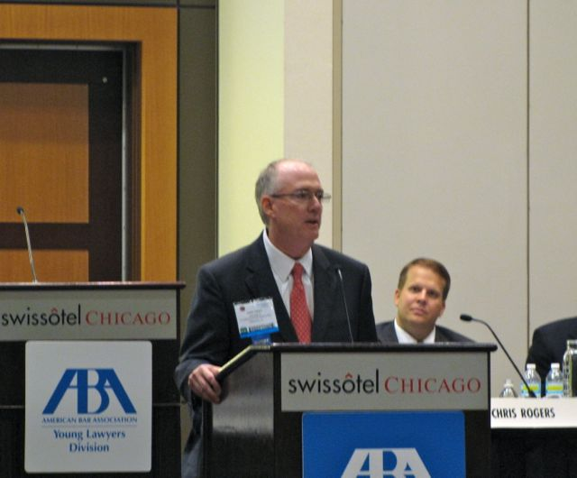 ISBA President John E. Thies debates before the ABA's YLD Assembly.