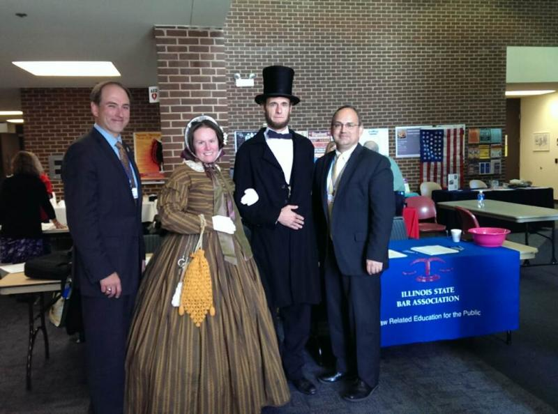Judge Mike Chmiel, Mary Todd Lincoln (a/k/a Laura F. Keyes), President Abraham Lincoln (a/k/a Kevin J. Wood), and Dean Cantú at the Fall 2015 Conference of the Illinois Council for the Social Studies.