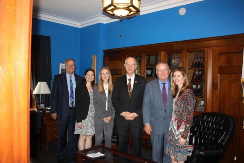 Jim Covington; Emily Roschek of the ABA; Dawn Willis, Co-Chair of the Chicago Bar Foundation Advocacy Committee; Congressman Bill Foster, who represents Illinois' 11th District; Russell Hartigan; and Jessica Bednarz of the Chicago Bar Foundation