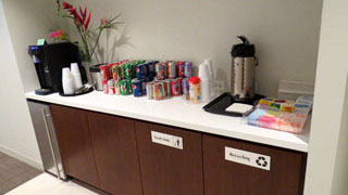 Beverage station for Lawyers Lounge and Conference Rooms D and E