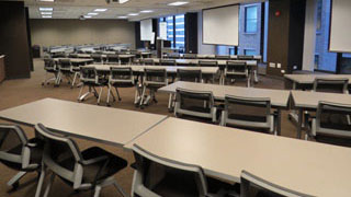 Conference Rooms B and C combined classroom style