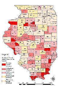 Number of Private Practice Attorneys in Illinois by County