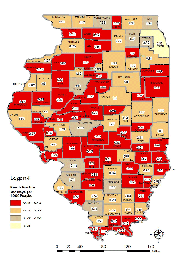 Number of Private Practice Attorneys in Illinois by County per 1,000 People