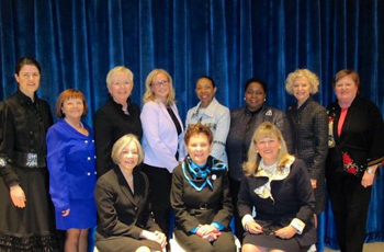 The panel discussion included (seated, from left) Chief Judge Diane Wood, Illinois Supreme Court Chief Justice Rita Garman, moderator and ISBA President Paula H. Holderman; (standing, from left) Morse, event chair Mary Petruchius, Supreme Court Justice Mary Jane Theis, Hinshaw Partner Jennifer Gust, Appellate Justice Joy Cunningham, Appellate Justice Shelvin Hall, Supreme Court Justice Anne Burke and Appellate Justice Susan Hutchinson.