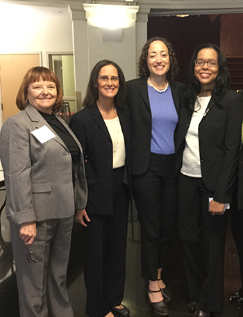 WATL member Mary Petruchius; Illinois General Lisa Madigan; Catherine Lhamon, Assistant Secretary, Office of Civil Rights; and Yolaine Dauphin, Secretary of the ISBA's Standing Committee on Racial and Ethnic Minorities and the Law.
