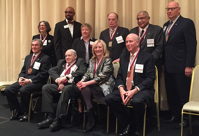 March 30, 2017 ISBA Laureate Awards: Top Left: Patricia Bronte, Vince Cornelius, Mary Ann Hatch (IL Academy of Lawyers Board of Regents), Nicholas Motherway, Larry Rogers, Hon. James Holderman (ret). Bottom Left: Joseph Gagliardo, Marshall Hartman, Lori Levin, Michael Reagan.