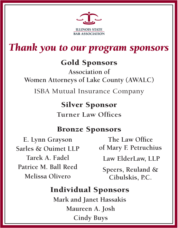 A Thank You To Our Program Sponsors Illinois State Bar Association