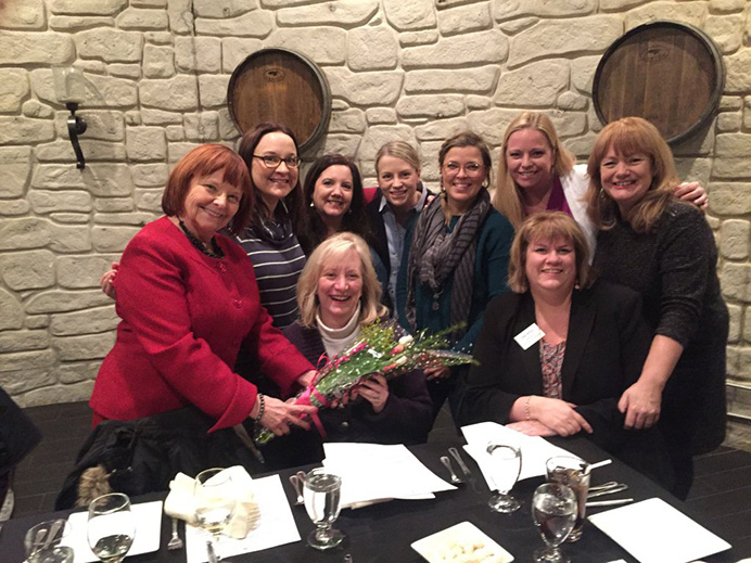 March 31, 2017 at Acquaviva Winery: From Top Left: Mary Petruchius, Emily Masalski, Alice Sackett, Margaret Mannetti, Kelly Thames Bennett, Julie A. Johnson, Sandra Crawford. Bottom Row: Lori Levin, Lisa Nyuli.