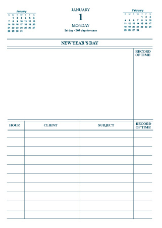 Daily Diary sample page