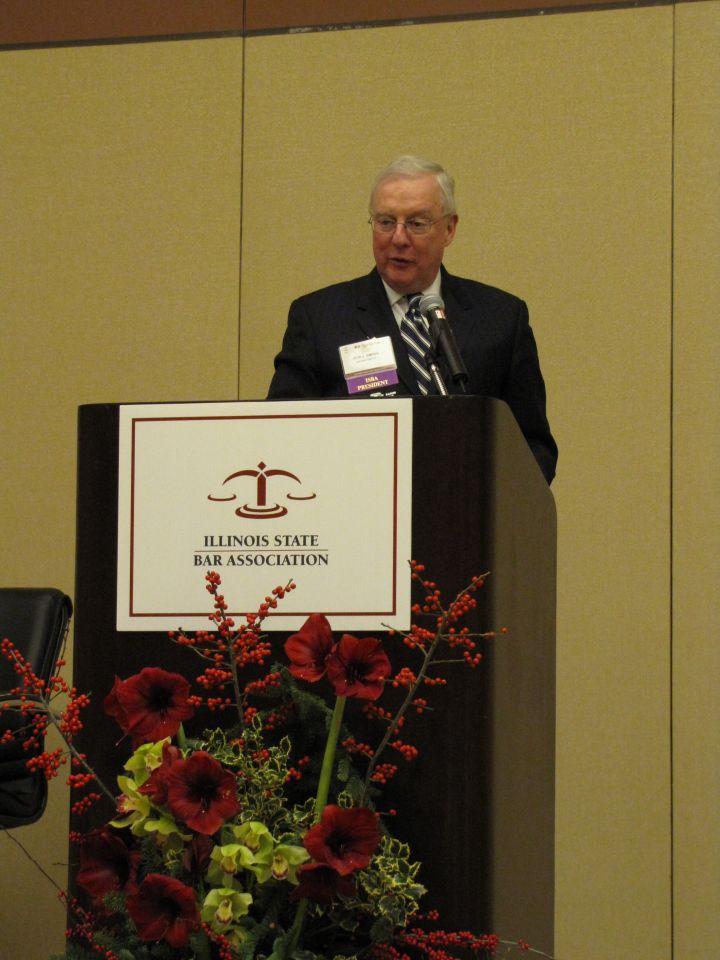 ISBA President John O'Brien makes his opening remarks.