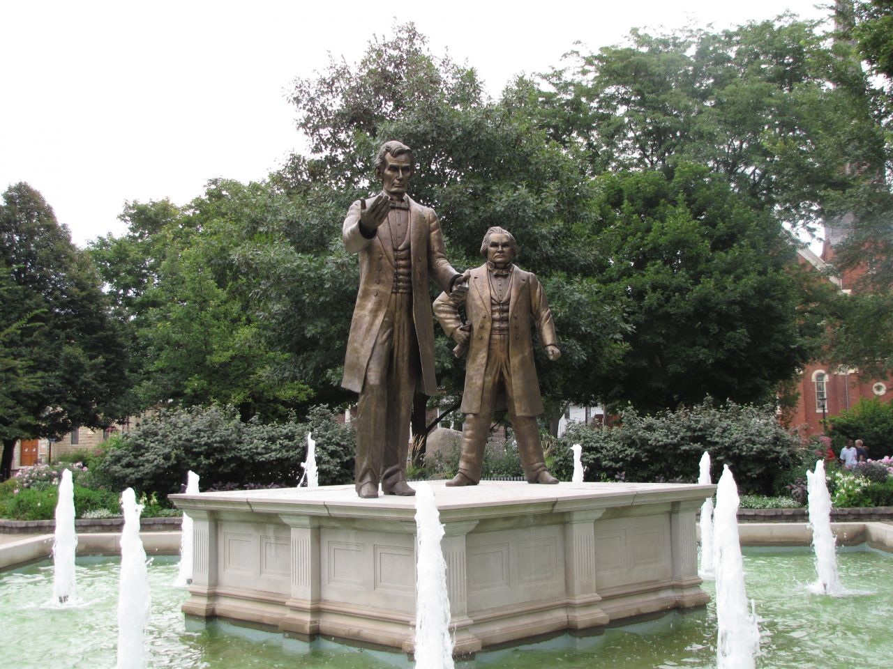 Statues of Lincoln and Douglas in Washington Park, site of the 1st Lincoln-Douglas debate on Aug. 21, 1858.
