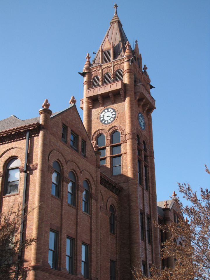 The clock and bell tower of the Champaign County Courthouse recently restored thanks to over $1.1 million raised by local residents.