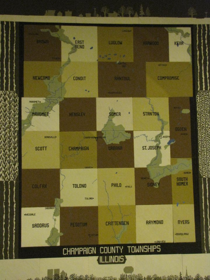 Quilt showing all the townships of Champaign County