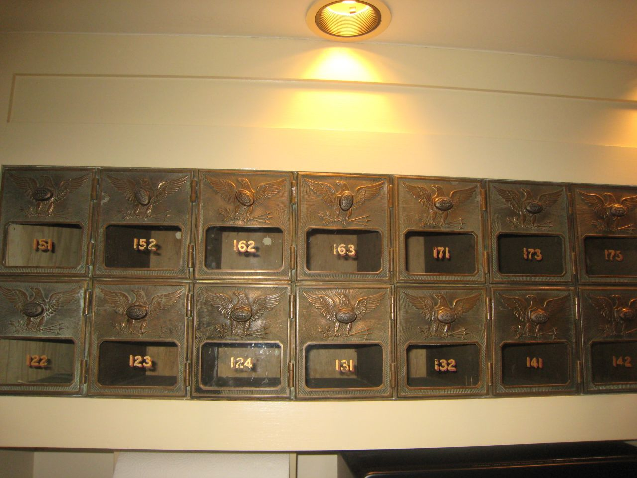 Former mailboxes in the Elmore & Reid hallway