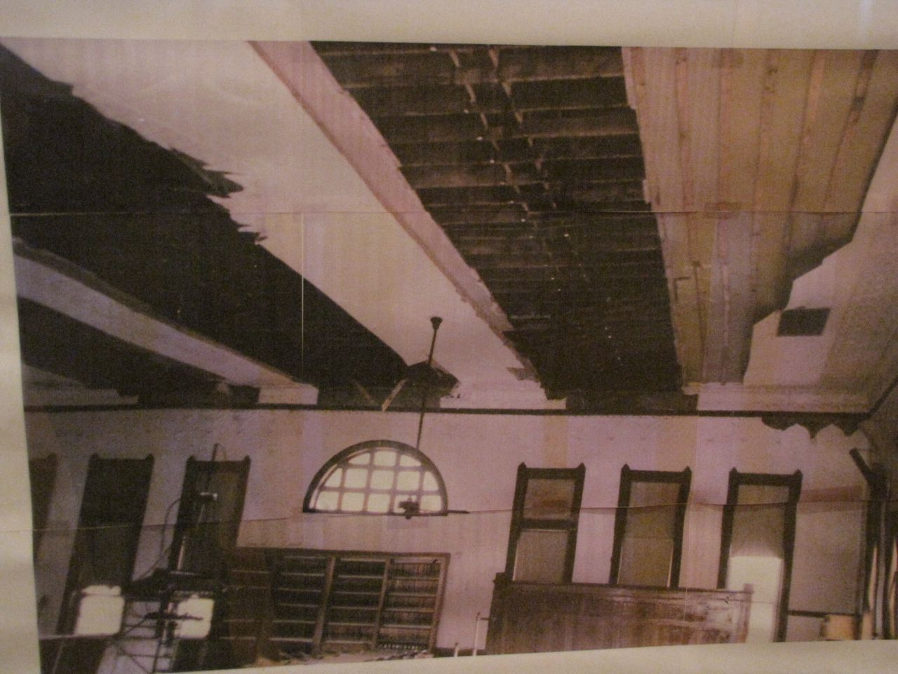 Photo showing damage from roof collapse