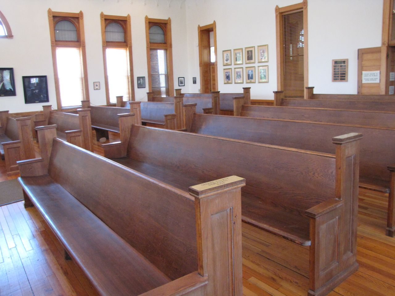 The benches were salvaged from a nearby church that happened to be closing.