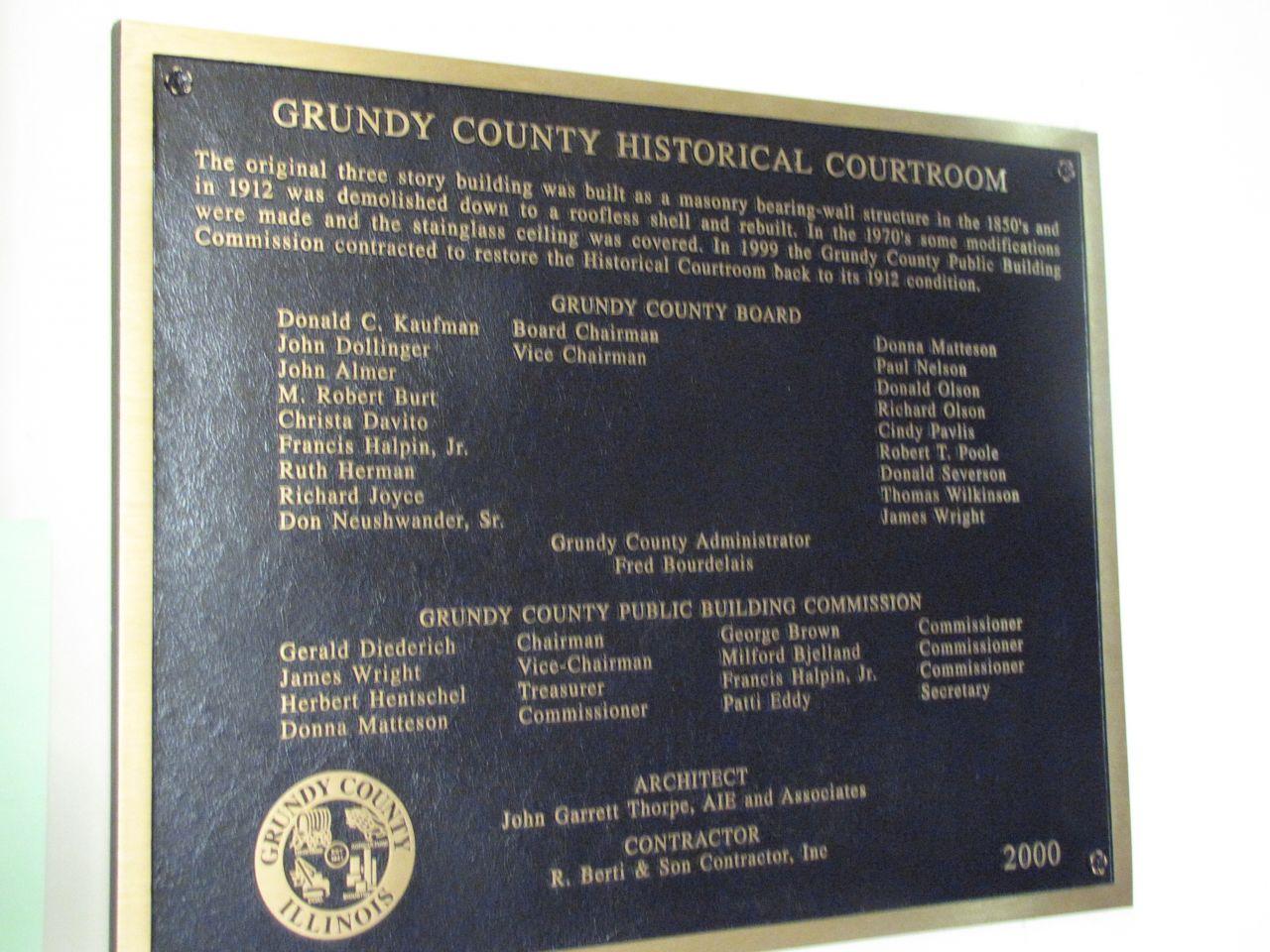 Historic marker outside courtroom