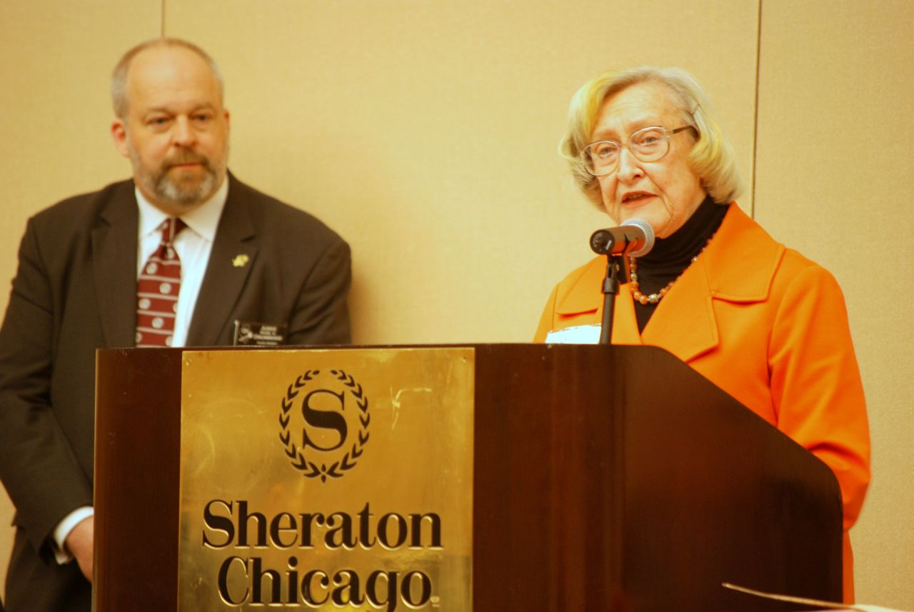 Dawn Clark Netsch presents the American Judicature Society's Special Merit Citation to Judge Mark A. Drummond, who accepted the award for the 7 Reasons to Leave the Party Program.