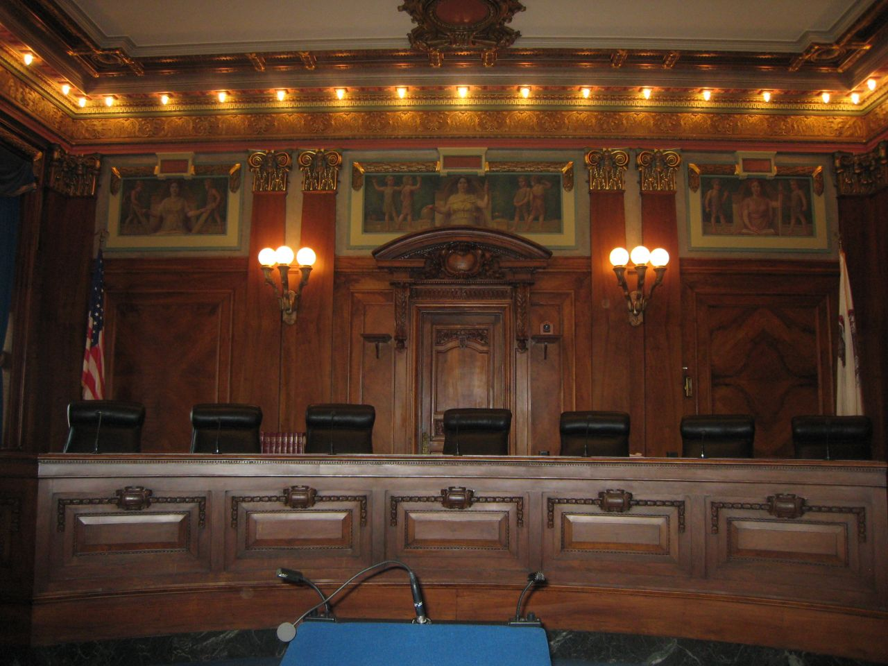 The seven Illinois Supreme Court justices preside in this courtroom