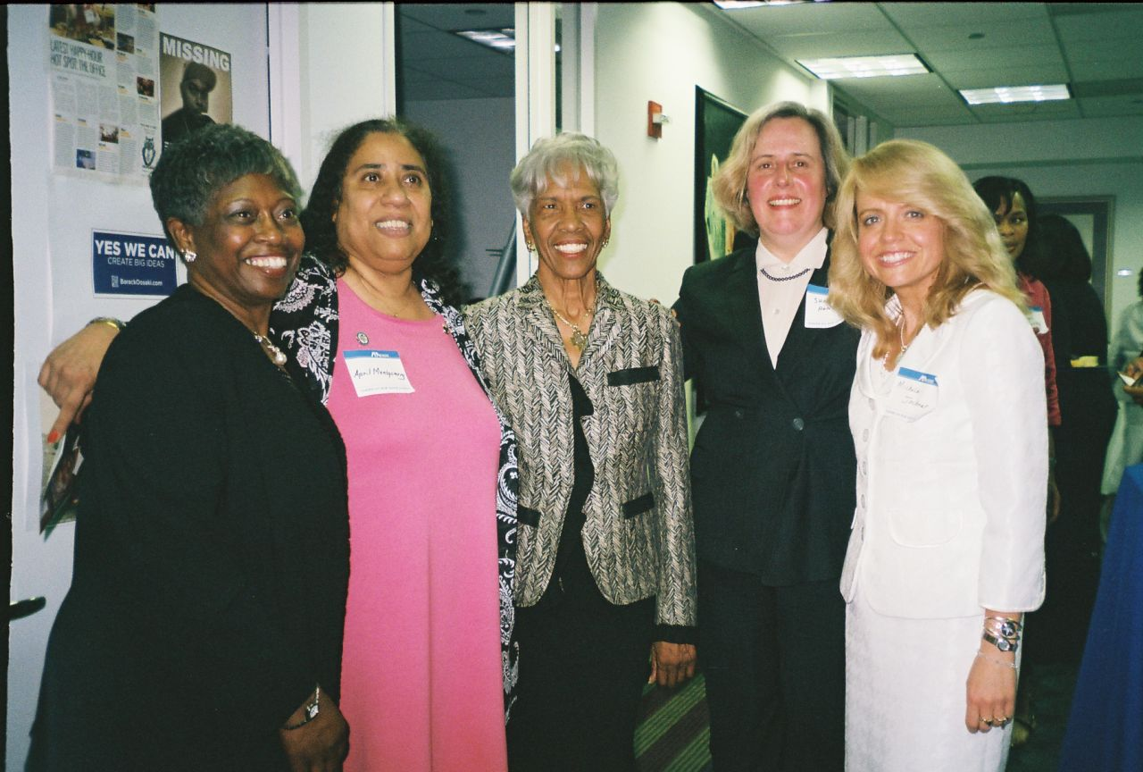 Officers and Board Members of the Chicago Alumni Chapter of Phi Alpha Delta Law Fraternity congratulate fellow member, Hon. Arnette R. Hubbard, on her receipt of the ABA's Margaret Brent Award at a pre-award reception (from left): Mary A. Melchor, Hon. Julie-April Montgomery, Hon. Arnette R. Hubbard, Sharon Hunt, Michele M. Jochner