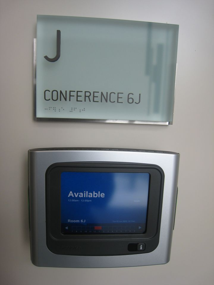 One of the high-tech features. The conference rooms have electronic schedulers at each entrance.