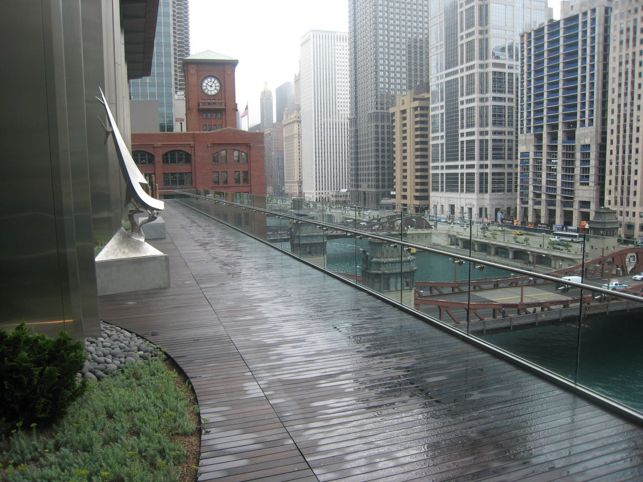 This is the 6th floor terrace overlooking the Chicago River. Access is just off the lobby.