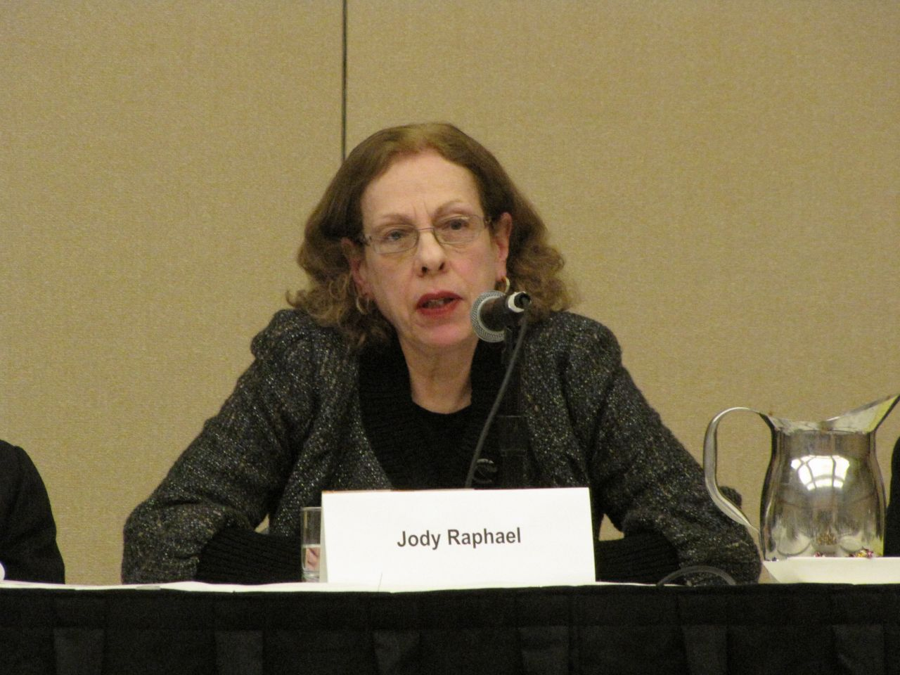 Panelist Judy Raphael, an advocate for victims of sex trafficking