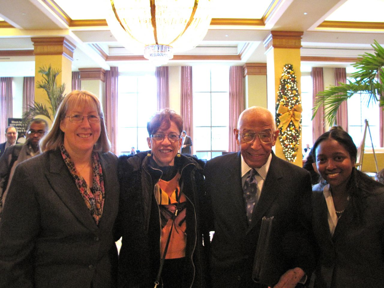From left (click to enlarge): SIU Professor Alice Noble-Allgire, Judge Leighton's daughter, Barbara Whitfield, Judge Leighton and McHenry County Assistant State's Attorney Jameika Mangum