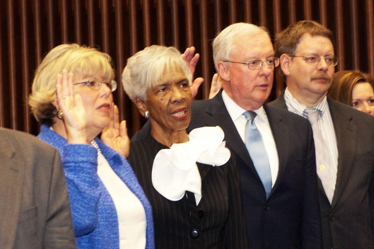 Paula Holderman, Hon. Arnette R. Hubbard, John O'Brien, William Price and Julie Ann Sebastian take the oath of initiation, administered by Chief Judge Holderman.