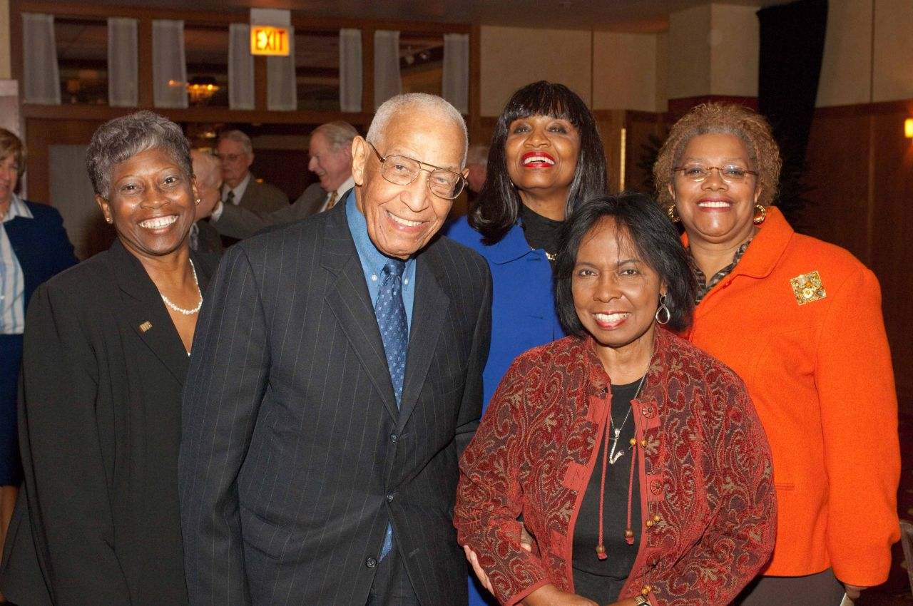 Mary Melchor (from left), Judge Leighton, Judge Jacqueline Cox, Judge Blanche Manning, Rita Fry.