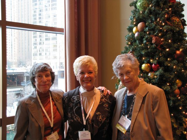 The three female members of the Class of 1960 who were honored (left to right) Charlotte Ziporyn, Chicago; Carole Bellows, Chicago; Claireen Herting, Park Ridge.