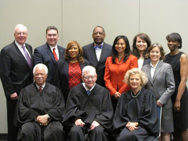 Representatives from local bar associations with the justices.