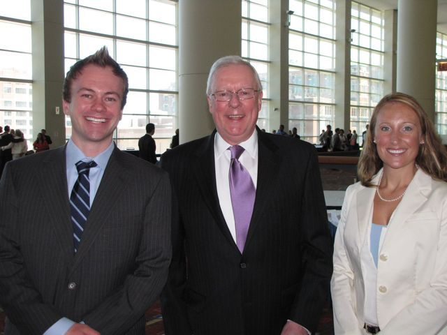 New admittees (and couple) Christopher Crevier and Natalie Lange of Chicago with President O'Brien