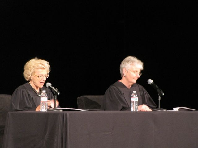 Supreme Court Justices Anne Burke and Mary Jane Theis presided over the ceremony.