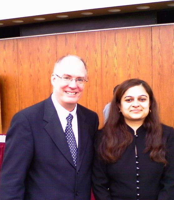 ISBA 2nd Vice President John Thies with new admittee Avani Patel of Downers Grove