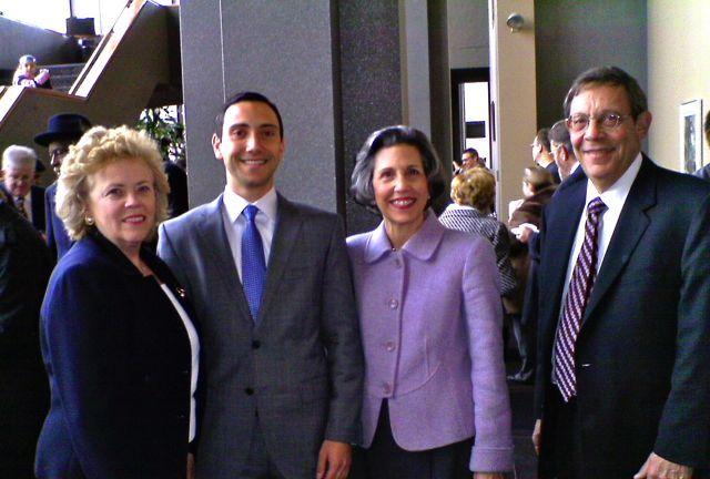 ISBA Past President Irene Bahr, new admittee Max Rettis, Justice Kathryn E. Zenoff and Alan Zenoff
