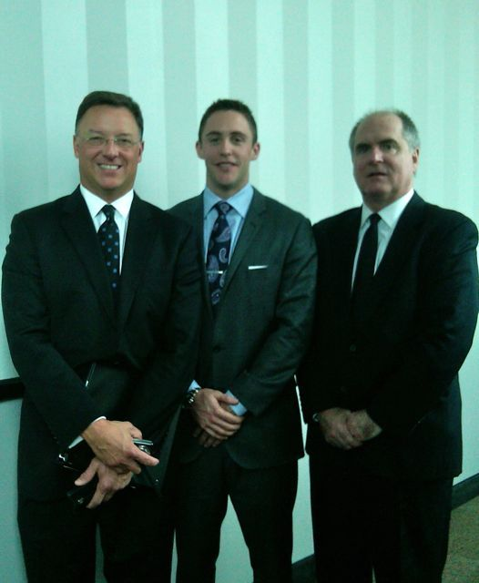 ISBA President-elect John G. Locallo, new admittee Ryan McCracken and his uncle, attorney Richard Steagall