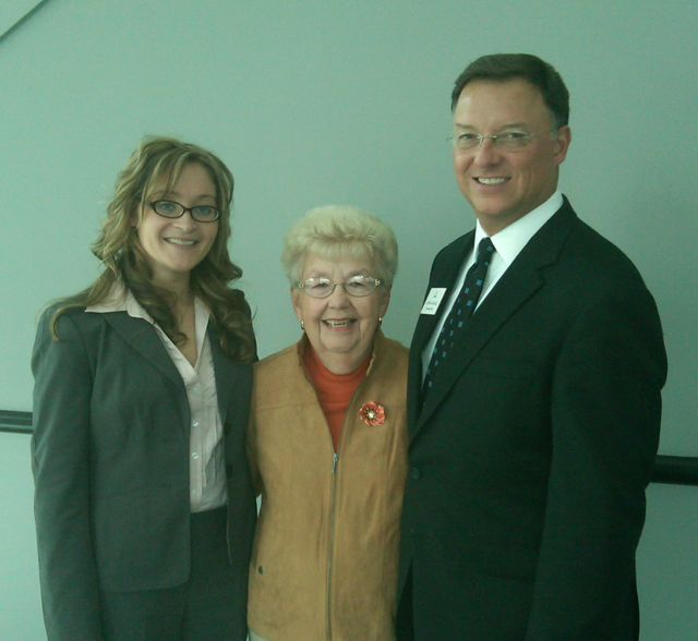 New admittee Mollie Ralph, her grandmother, Jean Ralph, and ISBA President-elect John G. Locallo