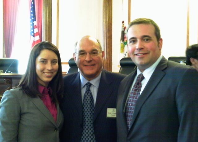 New admittee Caitlin O'Connor of Moline, ISBA President Mark Hassakisa and new admittee Matthew Van Hise of Peoria