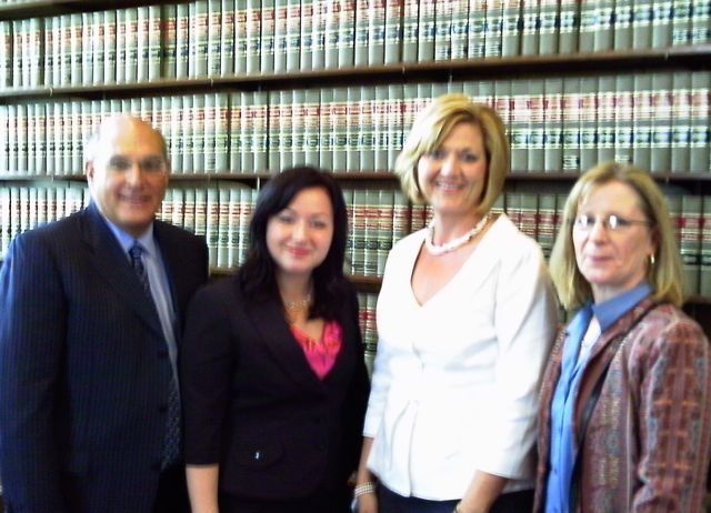 ISBA President Mark D. Hassakis, new admittee Jacquelyn Rae of New Lenox, Appellate Justice Mary O'Brien and new admittee Barbara Starke Tishuk of Homer Glen