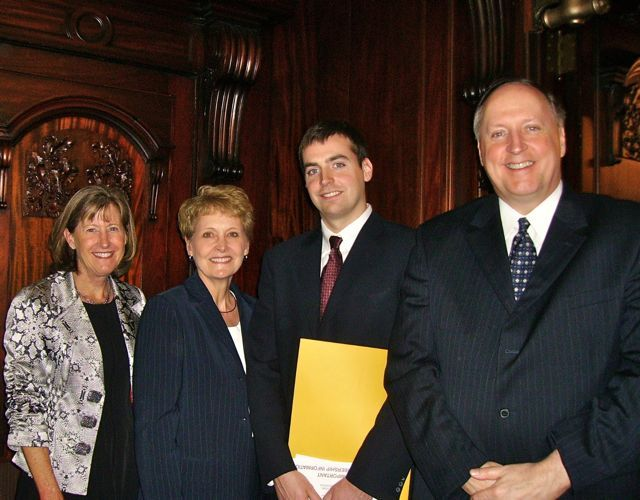 Hon. Katherine M. McCarthy, 6th Judicial Circuit; Mrs. Kevin L. Kehoe; new admittee Martin J. Kehoe; ISBA member Kevin L. Kehoe