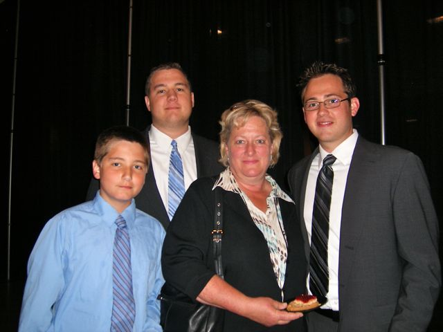 New admittee Paul Gantner (right) of St. Louis with his family, Tom, Tim and Anne Gantner.