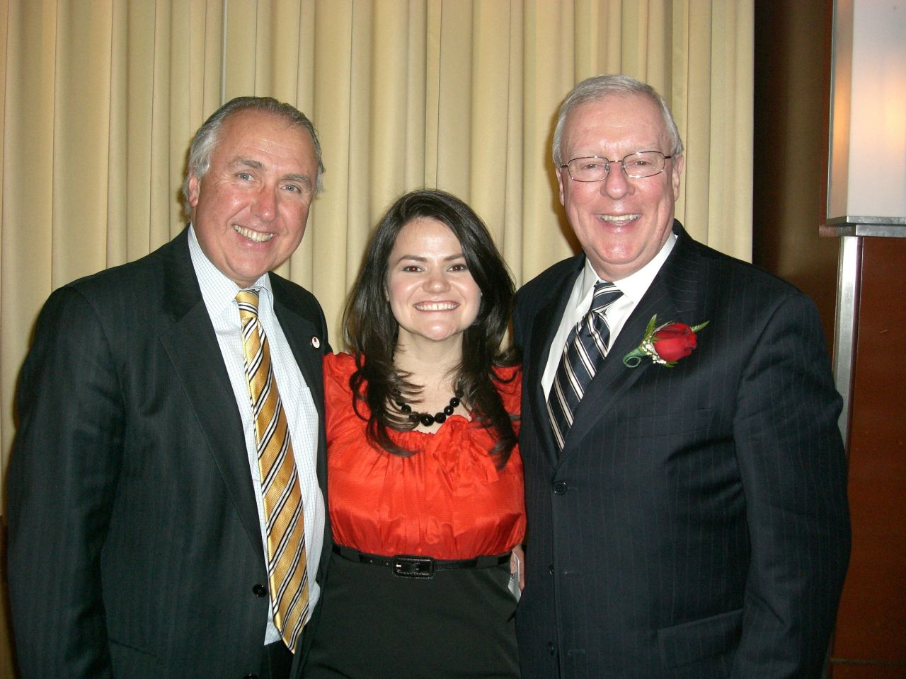 ISBA Board of Governors member Umberto Davi, newly installed Advocates Society President Megan Kaszubinski Ferraro and ISBA President John G. O'Brien attend the Advocates Society Installation dinner last week.