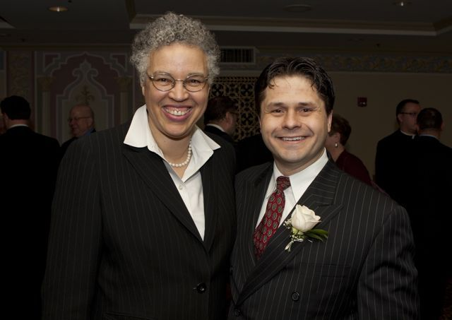 Cook County President Toni Preckwinkle with Advocates Society President Robert Groszek. - Photo by Artur Zadrozny