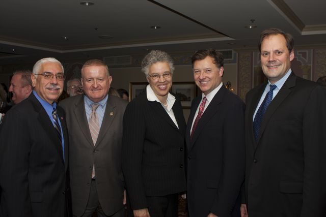 Cook County Assessor Joe Berrios (from left), ISBA Board member Judge Russell Hartigan, Cook County President Toni Preckwinkle, ISBA President-elect John Locallo and ISBA Secretary Mark Wojcik. - Photo by Artur Zadrozny
