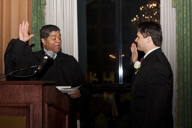 Cook County Chief Judge Timothy Evans swears in new president Robert Groszek. - Photo by Artur Zadrozny